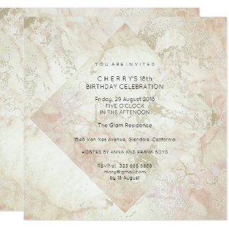 Party Marble Glitter Peach Powder Pink Gold 13 Cm X 13 Cm Square Invitation Card