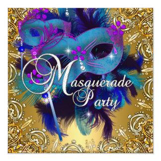 Party Masquerade Blue Gold Purple 13 Cm X 13 Cm Square Invitation Card