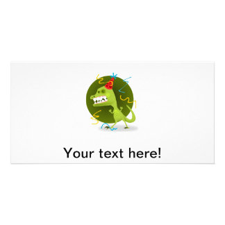 Party monster cartoon photo card template