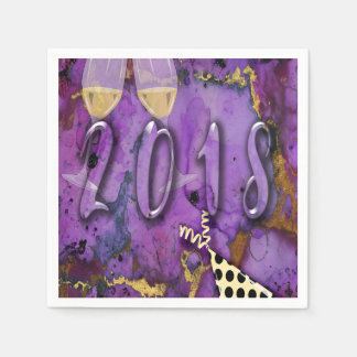 Party nakin 2018 New Years Eve Purple faux gold Disposable Serviette