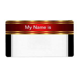 Party Name Tag Label gold red Black