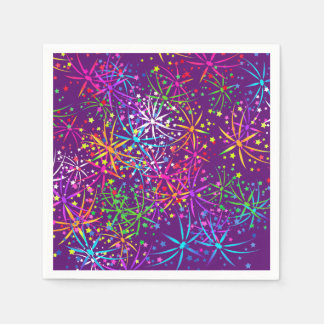 Party Napkin rainbow fireworks purple Paper Serviettes