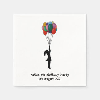 party napkins personalised Girl with Balloons Paper Serviettes