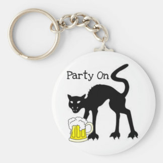 PARTY ON...HALLOWEEN BLACK CAT AND BEER PRINT KEY RING