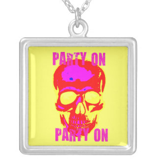 """""""PARTY ON"""" NEON BRIGHT SKULL PRINT NECKLACE"""
