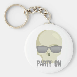 PARTY ON SKULL AND SUNGLASSES PRINT KEY CHAINS