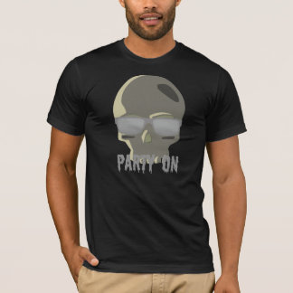 """PARTY ON"" SKULL WITH SHADES PRINT T-Shirt"