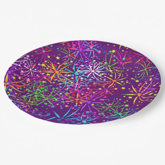 Party Paper plate rainbow fireworks stars purple