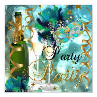Party Party Mask Champagne Blue Gold Masquerade 5.25x5.25 Square Paper Invitation Card