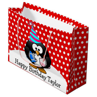 Party Penguin Happy Birthday Red Polka Dot Large Gift Bag