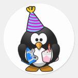 Party Penguin Round Sticker