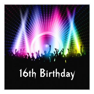 Party People Sixteenth Birthday Invitation