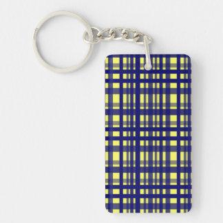 Party Plaid Yellow Dark Blue Acrylic Keychain
