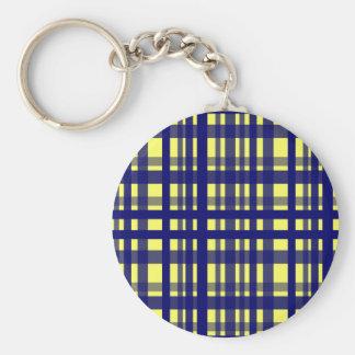 Party Plaid Yellow & Dark Blue Key Chains