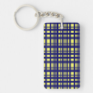 Party Plaid Yellow & Dark Blue Double-Sided Rectangular Acrylic Key Ring