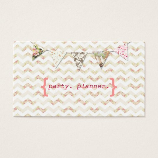Party Planner Business Card Chevron Floral Pink