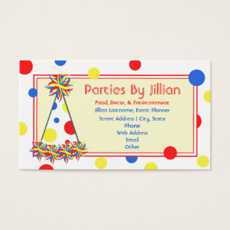 Party Planner Red Yellow Blue Polka Dot Party Hat Business Card