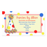 Party Planner Red Yellow Blue Polka Dot Party Hat Pack Of Standard Business Cards
