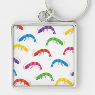 Party Prawns Silver-Colored Square Key Ring