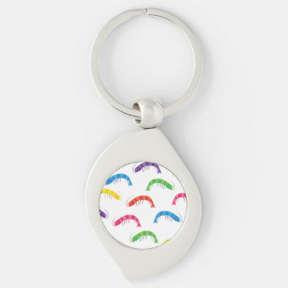 Party Prawns Silver-Colored Swirl Key Ring