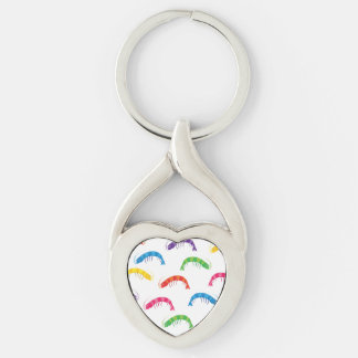 Party Prawns Silver-Colored Twisted Heart Key Ring