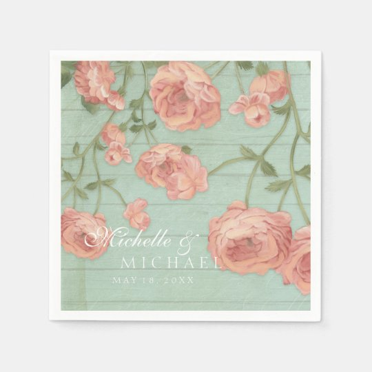 Party Pretty Blush Pink Peach Roses Wood Fence