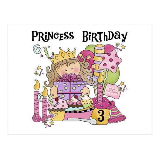 Party Princess 3rd Birthday Tshirts and Gifts Postcard