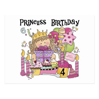 Party Princess 4th Birthday Tshirts and gifts Postcard