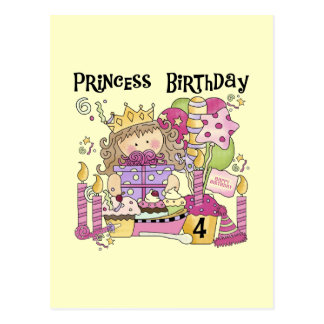 Party Princess 4th Birthday Tshirts and gifts Postcards