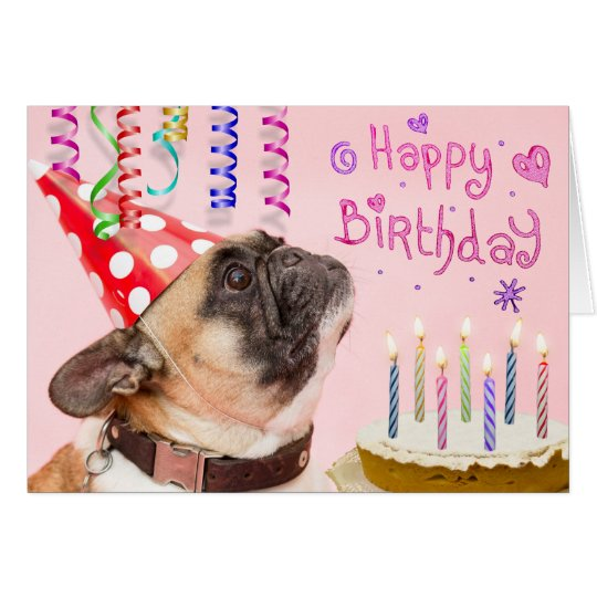 Party Pug and Birthday Cake Card