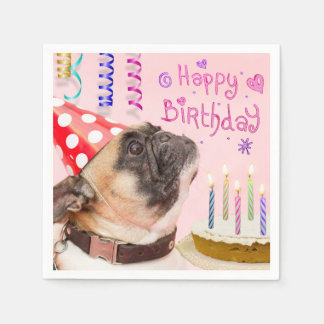 Party Pug and Birthday Cake Disposable Serviette
