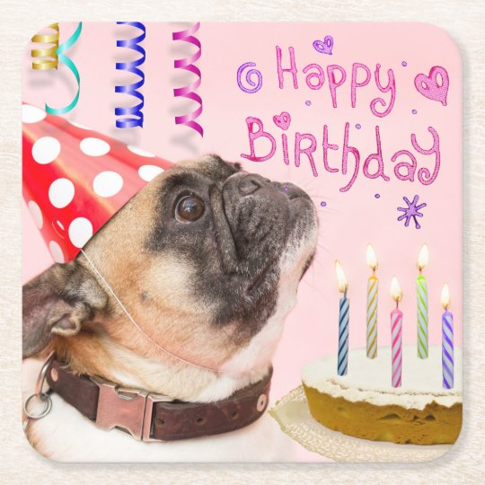 Party Pug and Birthday Cake Square Paper Coaster
