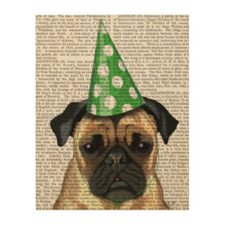 Party Pug Wood Print