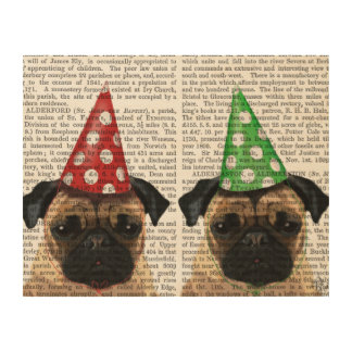 Party Pugs Pair Wood Wall Art