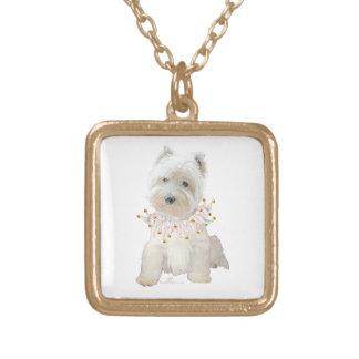 Party Puppy Square Pendant Necklace