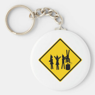 Party Road Sign Basic Round Button Key Ring