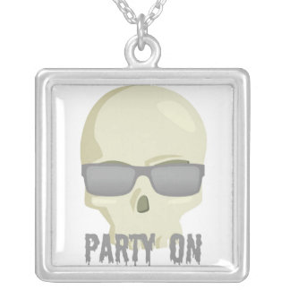 PARTY SKULL WITH SHADES PRINT SQUARE PENDANT NECKLACE