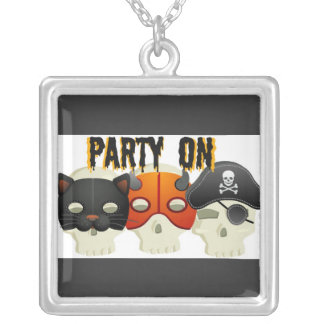 PARTY SKULLS WITH COSTUME HATS PRINT JEWELRY