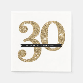 PARTY TABLE LARGE AGE modern 30 gold glitter Paper Napkin