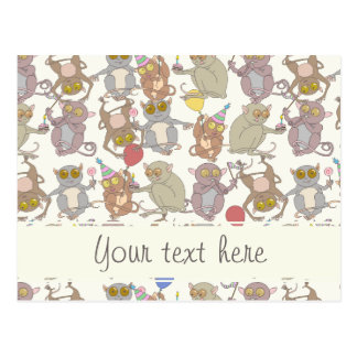Party Tarsiers, patterned Postcards