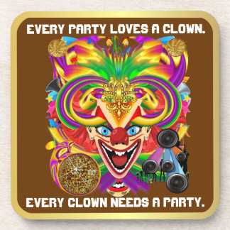 Party Theme 2 Designs Clown Jester  Pick one Coaster