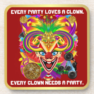 Party Theme 2 Designs Clown Jester  Pick one Beverage Coasters