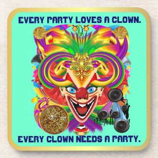 Party Theme 2 Designs Clown Jester Pick one Beverage Coaster