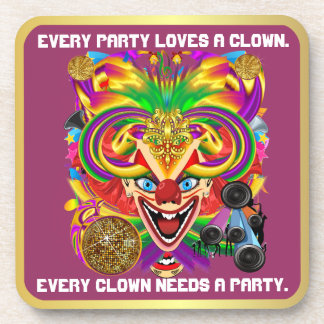 Party Theme 2 Designs Clown Jester  Pick one Drink Coasters