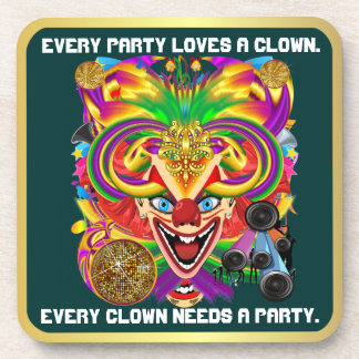 Party Theme 2 Designs Clown Jester  Pick one Coasters