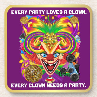 Party Theme 2 Designs Clown Jester  Pick one Drink Coaster