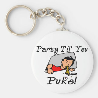 Party Til' You Puke Basic Round Button Key Ring