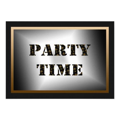 Party Time Black Gold Fleur de Lis Party Invitation