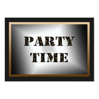 Party Time Black Gold Fleur de Lis Party 13 Cm X 18 Cm Invitation Card