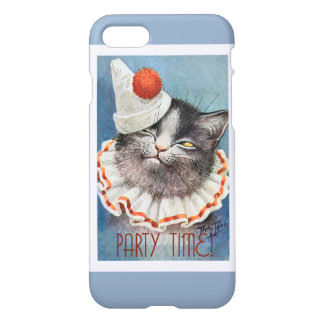 Party Time! Cat in Birthday Hat - Vintage Art iPhone 7 Case